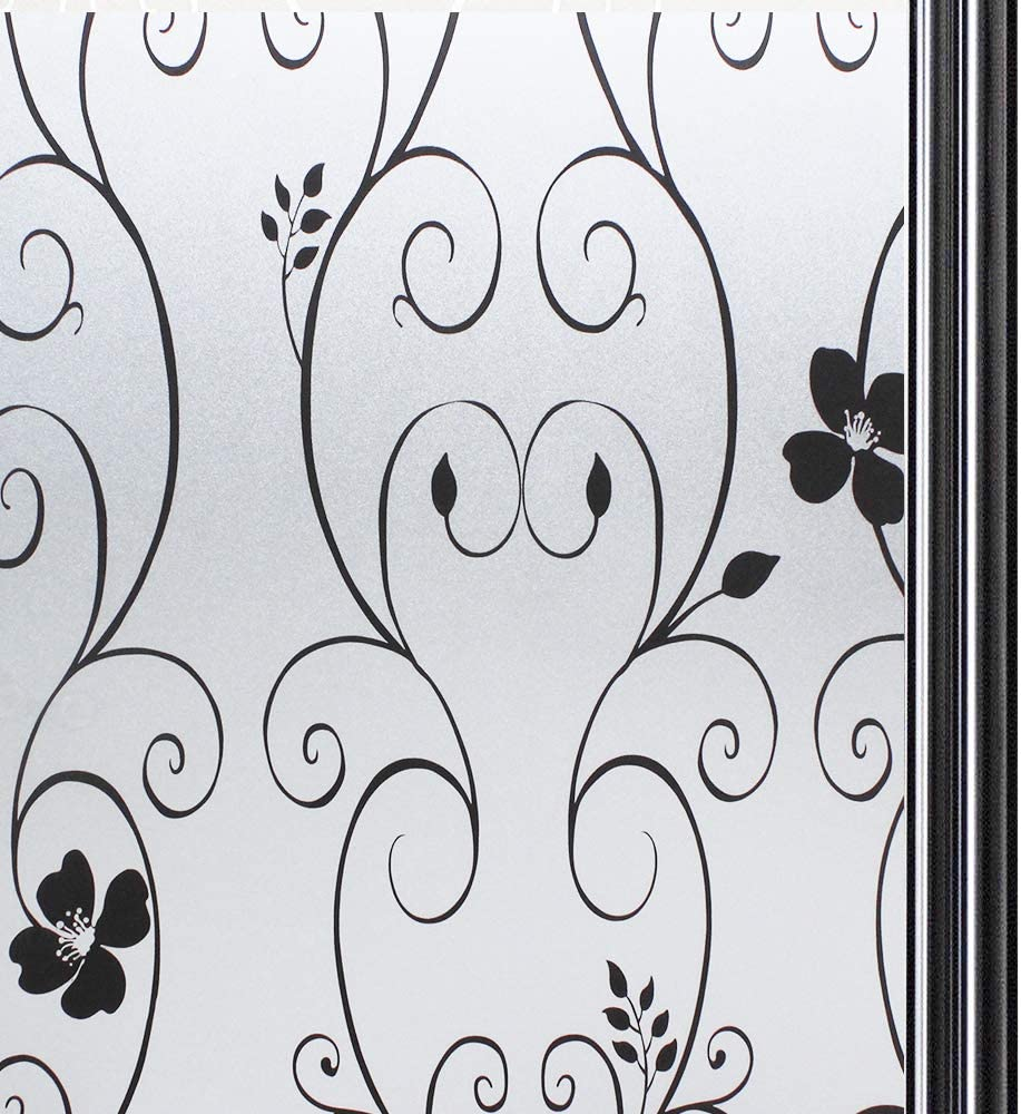 P014W Qualsen Window Film Privacy Frosted Flower Pattern Self Adhesive Stained Glass Window Stickers 60 x 300 cm