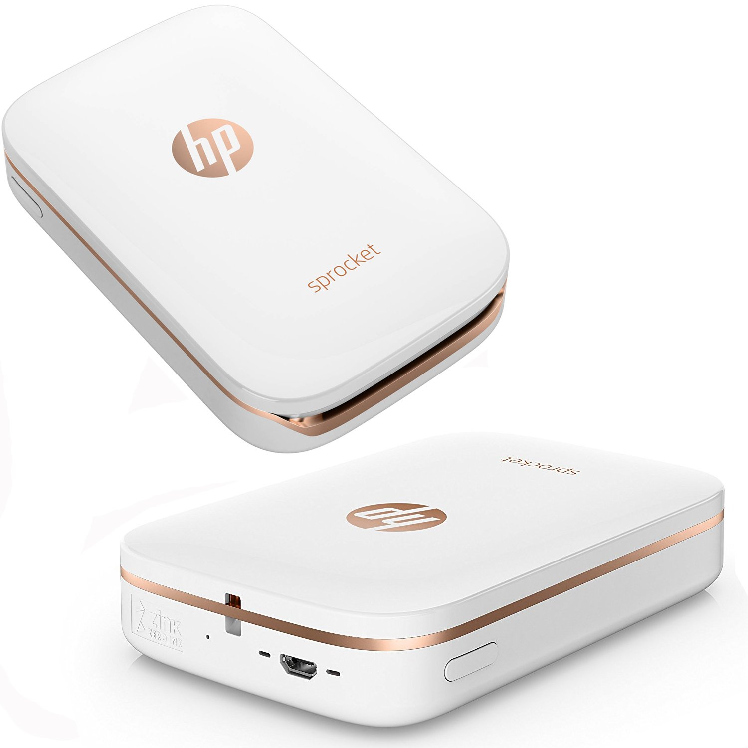 HP Sprocket Photo Printer, Print Social Media Photos on 2x3 Sticky-Backed Paper (White) + Photo Paper (10 Sheets) + USB Cable with Wall Adapter Charger + HeroFiber Ultra Gentle Cleaning Cloth by HeroFiber (Image #2)
