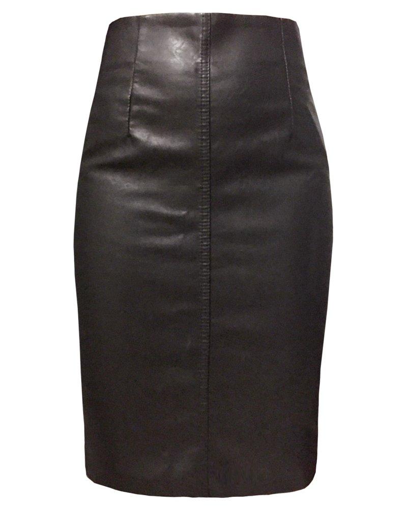 MYB Women High Waist Back Split Black Leather Knee Length Fitted Pencil Skirt