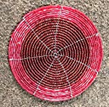 Alvi Qmar Christmas Special Handmade Round Ethenic Wire Beaded Set of 6 Tea Coaster for Dining Table/Tablemat Decorative Home Decorations Size 4 Inch(Red)