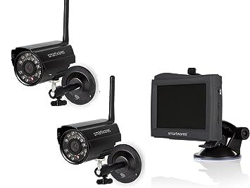 Juego de 2 canal Vigilancia Visión Nocturna sin cable, 4,3 Monitor con batería: Amazon.es: Bricolaje y herramientas