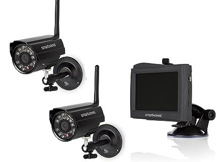 Juego de 2 canal Vigilancia Visión Nocturna sin cable, 4,3 Monitor con batería