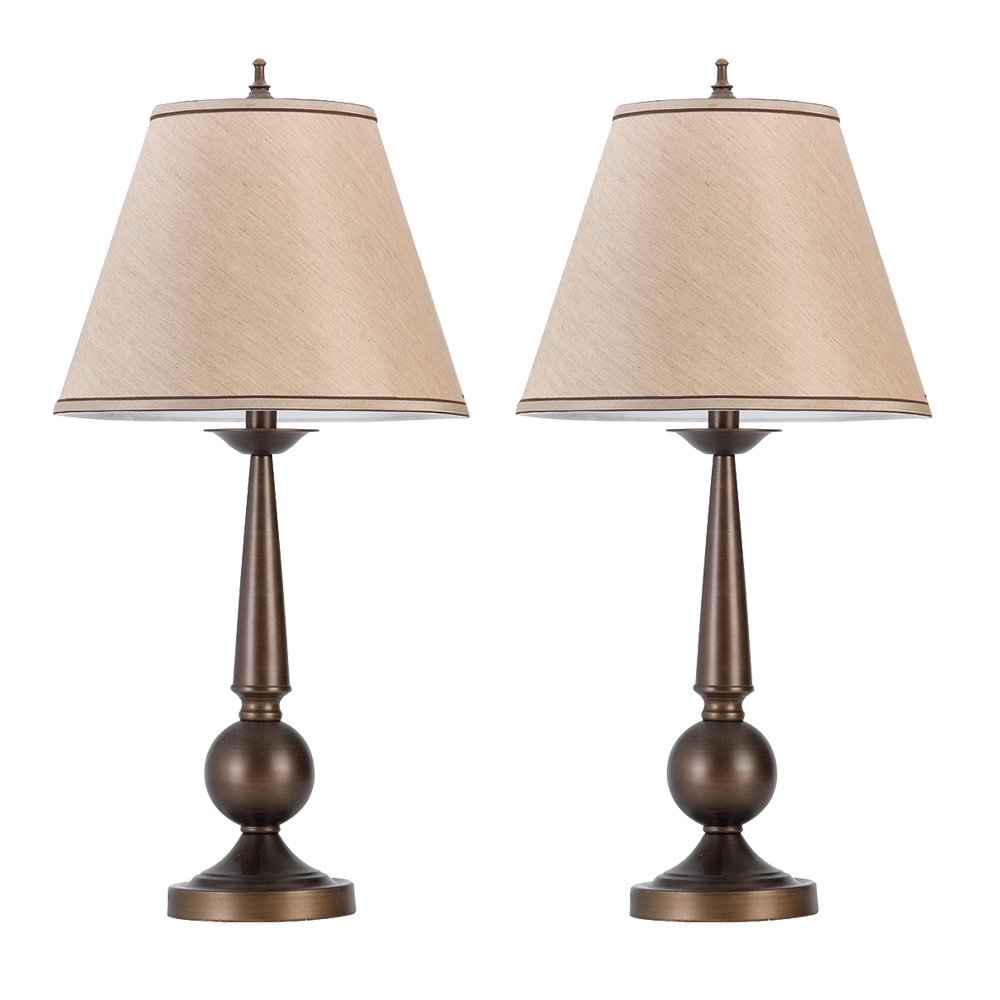 SHANHAI 27'' Tall Classical Table Lamps with ON/OFF Switch, Bronze Finish & Beige Shades,Retro Vintage Desk Lights for Bedroom, Living Room & Hall Way, A19 E26 60W Bulb, Pack of 2 (Bulb Not Included) by Shanhai