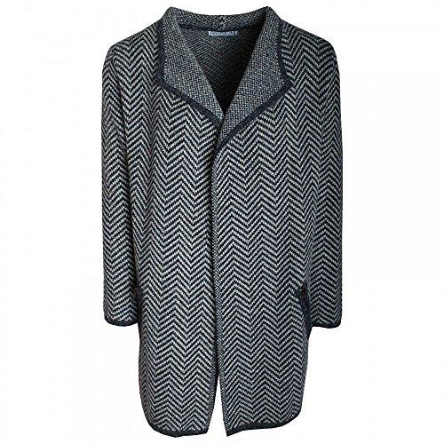 Passioni Herringbone Knit Loose Lapel Jacket Navy