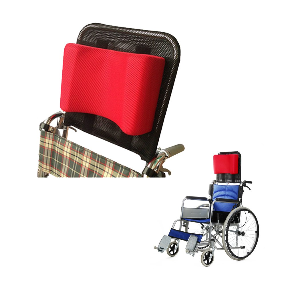 Wheelchair Headrest Neck Support Head Adjustable Padding for Adults Portable Universal Wheelchair Accessories for 16''-20'' (Red)