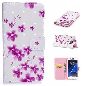 cowx Samsung Galaxy S7 Edge Funda Soporte Para Teléfono Móvil Funda de piel sintética para Samsung Galaxy S7 Edge Funda Cartera Funda CHERRY Blossoms: ...