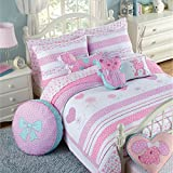 Brandream White And Pink Polka Dot Cat Bedding Set Girls Quilt Set Queen Size