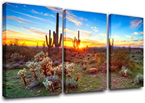 Rustic Home Decor Saguaros at sunset in Sonoran Desert Paintings 1 Panel Canvas Wall Art Dreamlike Pictures Modern Artwork Home Decor for Living Room Giclee Framed Posters and Prints(24''x36'')