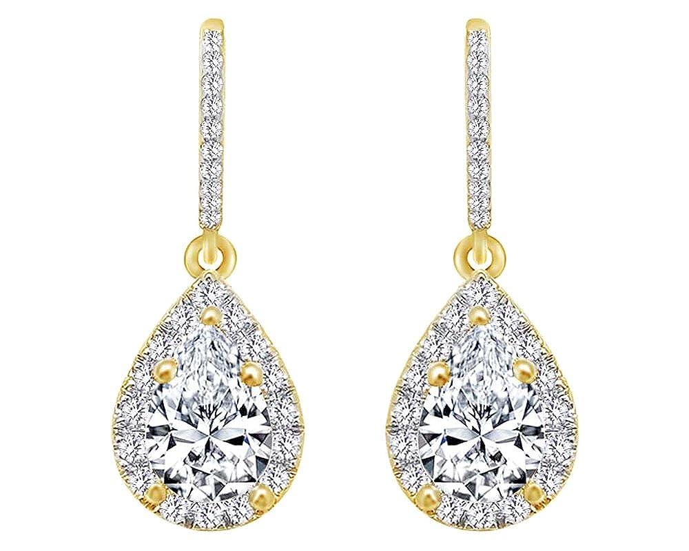 0,7 Karat Pear & Rundschliff Weißszlig; natürlicher Diamant Fashion Ohrringe in Tropfenform 14 ct 585 Massiv Weißszlig; Gold 14 Karat (585) GelbGold