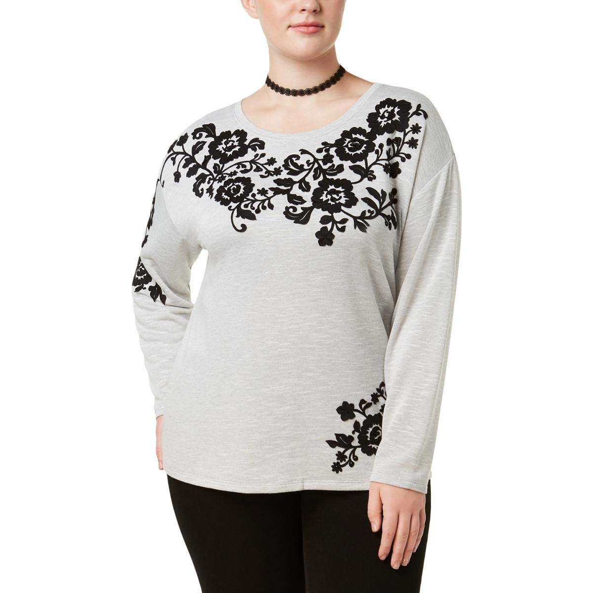 INC Womens Plus Embroidered Embellished Pullover Sweater
