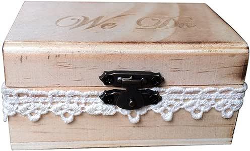 TOPBATHY Caja de Madera de Anillos de Novios Cajas de Madera para Decorar para Fiesta Ceremonia de Boda Vintage Caja de Joyería con Patron de We Do: Amazon.es: Hogar