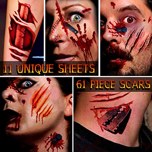 Zombie Makeup,Halloween Makeup,11 Unique Sheets,Fake Blood ,Scar Tattoo,Halloween Tattoos Fake Blood Makeup Vampire Makeup, Enjoy Halloween Makeup Kit Zombie Tattoos,11 Sheets,61 Pics Fake Scars Cuts