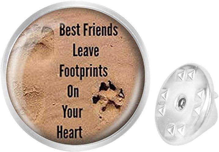WAZZIT Round Metal Tie Tack Hat Lapel Pin Brooches Dog Footprints Banquet Badge Enamel Pins Trendy Accessory Jacket T-Shirt
