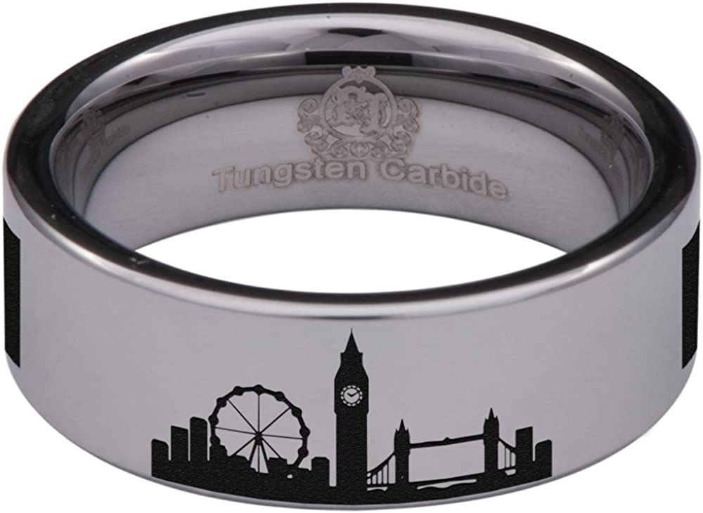 Tungsten Carbide London Ring Wedding Band Anniversary Ring for Men and Women 8mm