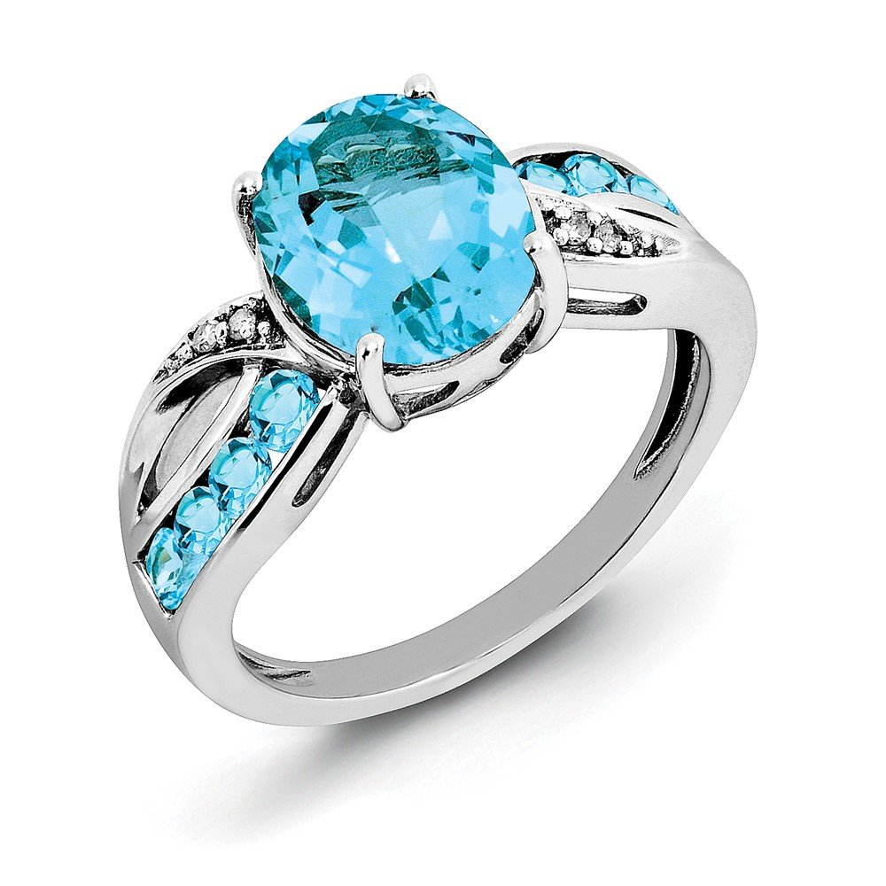 Sterling Silver Diamond and Swiss Blue Topaz Engagement Ring Size 8