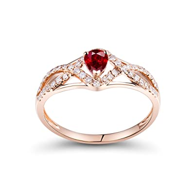 52e9f4cf73a Image Unavailable. Image not available for. Color  Lanmi Ruby Classic  Engagement Diamond Jewelry Vintage Ring Solid 14K Rose Gold