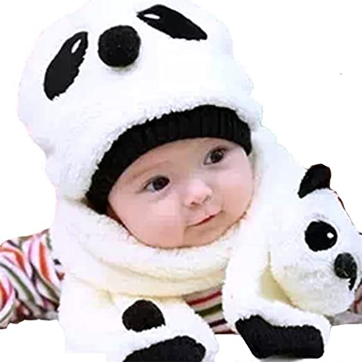 257a61272ed Baby Kids Crown Thick Wool Cotton Baby s Warm Panda Hood Caps with Long Scarf  Set for