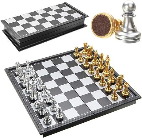 YOBENS NBM Gran Oferta Juego de ajedrez de Oro de Plata Piezas magnético Plegable Placa Set contemporáneo Familia Juegos de Navidad: Amazon.es: Hogar