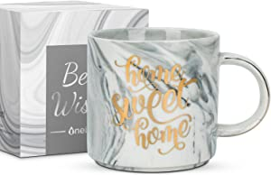 """Housewarming Gifts for New Home, House warming presents for couple/friends, Unique New Home Gift Ideas with Quote""""Home Sweet Home"""", Marble Ceramic 11 Oz Coffee Cup, for Women/Men-Onebttl"""