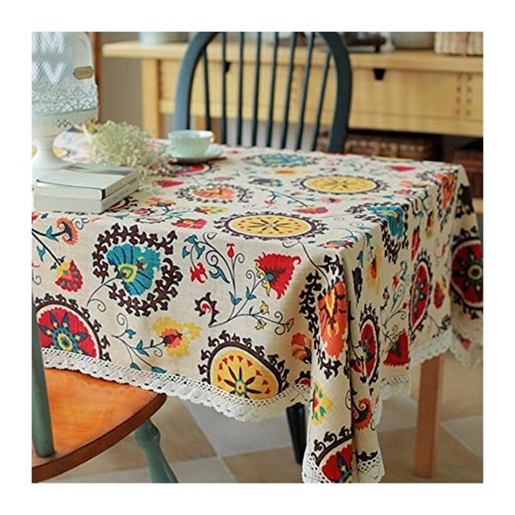 HOOYE Tablecloth Bohemian Style Rectangle Linen Lace Table Cloth for Dinner Parties Table Cover (55X87 inch, Bohemian Style) - One-Piece Seamless Design, Folded over hemmed edges for an elegant looking table clothes rectangle Machine wash cold delicate, hand wash best; lay flat to dry This HOOYE bohemian tablecloth features a unique pattern and colorful printing ,offers an exotic blend of modern luxury and isolated serenity - tablecloths, kitchen-dining-room-table-linens, kitchen-dining-room - 61gZgcJpHcL. SS570  -