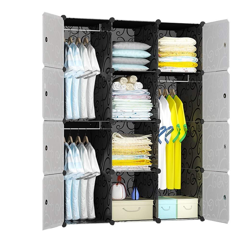 Jurass Assembled Wardrobe Closet,Black Easy to Disassemble DIY Hanging Wardrobe,Modern Portable Clothes Toy Storage Storage Box, Space Saving Deeper Cube by Jurass