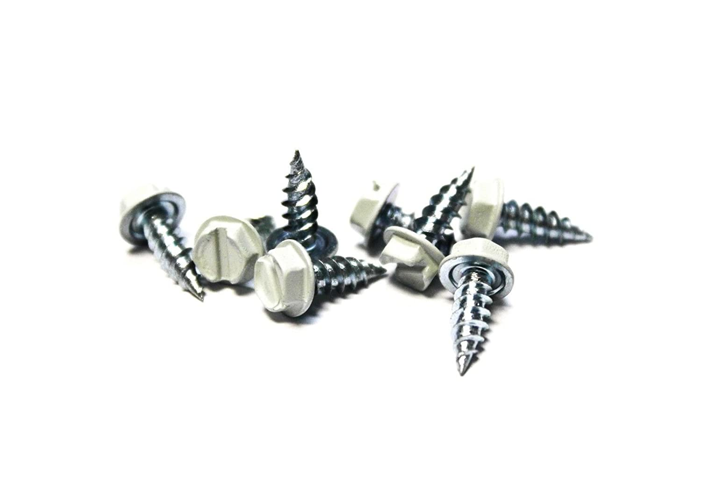 500 White 8x1//2 Slotted Hex Head Sheet Metal Screws