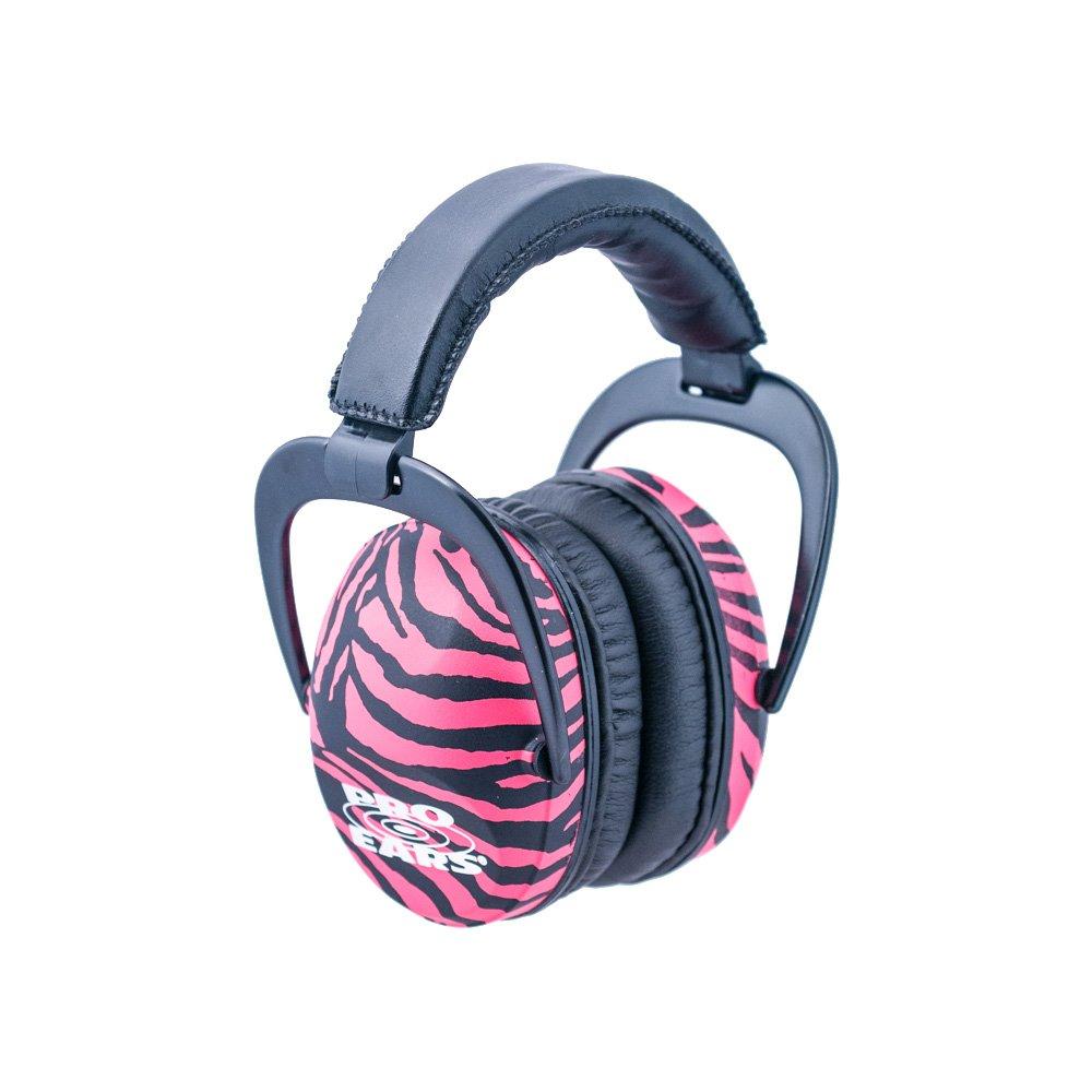 Pro Ears - Ultra Sleek - Hearing Protection - NRR 26 - Ear Muffs - Pink Zebra by Pro Ears