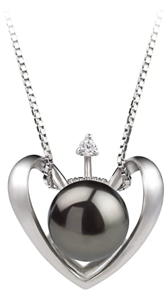 Amazon heart black 9 10mm aa quality freshwater 925 sterling heart black 9 10mm aa quality freshwater 925 sterling silver cultured pearl pendant aloadofball Images