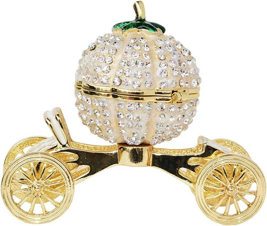 Minihouse Enameled Cinderella Pumpkin Carriage Trinket Box Hinged Hand-Painted Enameled Ring Holder,Unique Gift for Family
