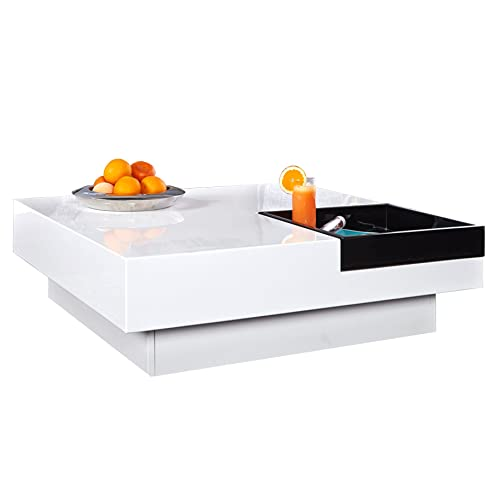 design couchtisch cuebase weiß mit integriertem tablett hochglanz ... - Wohnzimmertisch Design