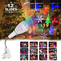 Christmas Projector Lights, InnooLight 12 Slides Projector Lamp, E27 Lamp Base Waterproof Christmas Projector Light Holiday LED Lights for Various Themes Halloween, Christmas, Birthday, Valentine's Day, Easter, Carnival, Christmas Decoration, Perfect Christmas Gift
