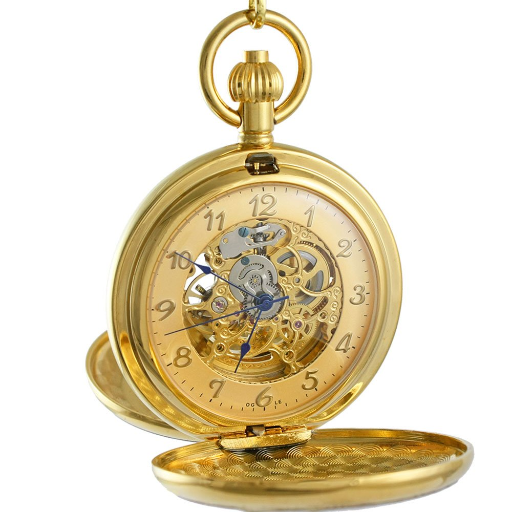 OGLE Vintage Roman Copper Double Cover Chain Fob Self Winding Automatic Mechanical Pocket Watch (Gold)