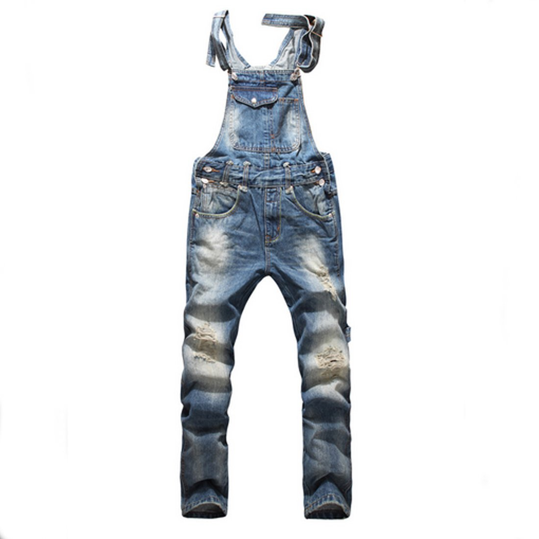 Partiss Men's Dark Blue Slim Fit Washed Denim Bib Overalls