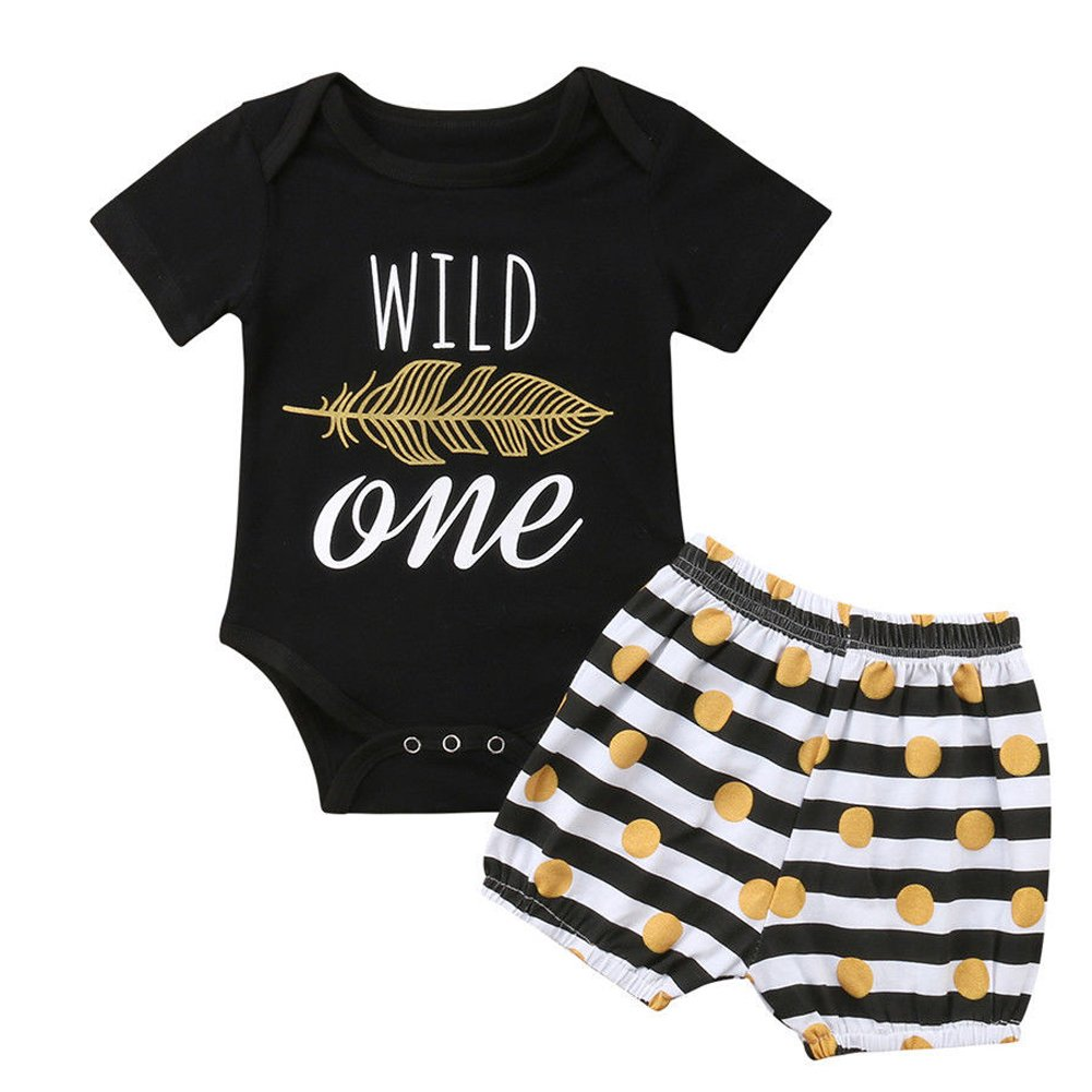 ONE'S Baby Girls Wild Feather Bodysuit Romper + Polka Dot Short 1st Birthday Outfits