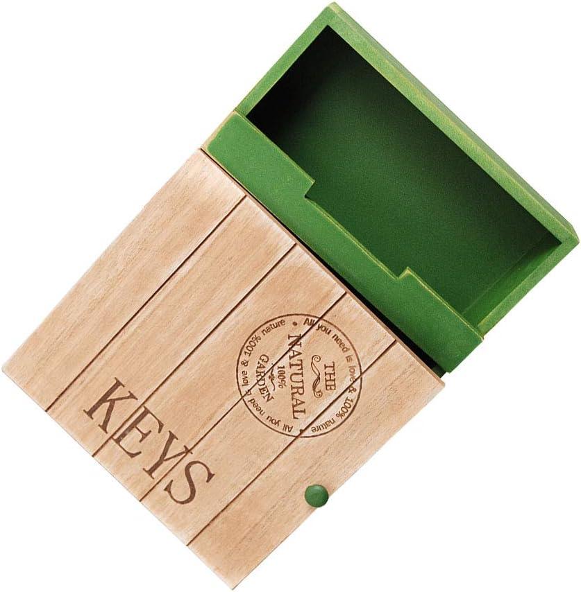 Vosarea Key Box Retro Green Alphabet Wooden Wall Mounted Key Holder Organizer Ornament Crafts Props