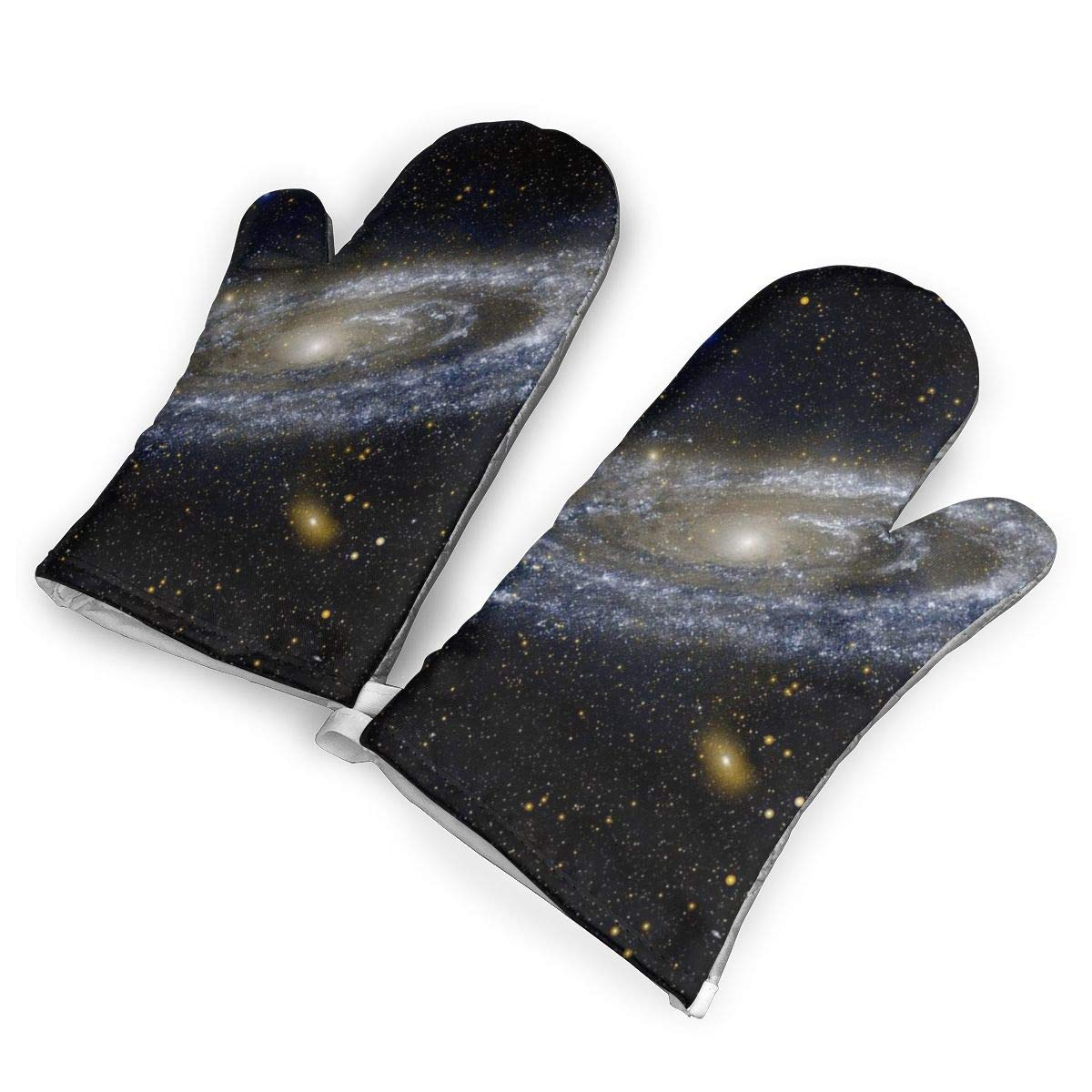 VshiXzno NASA Andromeda Galaxy Space Oven Mitts,Professional Heat Resistant to 500?? F,Non-Slip Kitchen Oven Gloves for Cooking,Baking,Grilling,Barbecue Potholders
