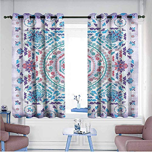 Bedroom Curtain Mandala Floral Medallion Design Bedroom Blackout Curtains W63 xL72 Suitable for Bedroom,Living,Room,Study, etc.