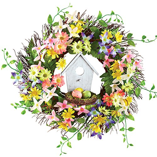 Birdhouse Nest and Flowers Wreath