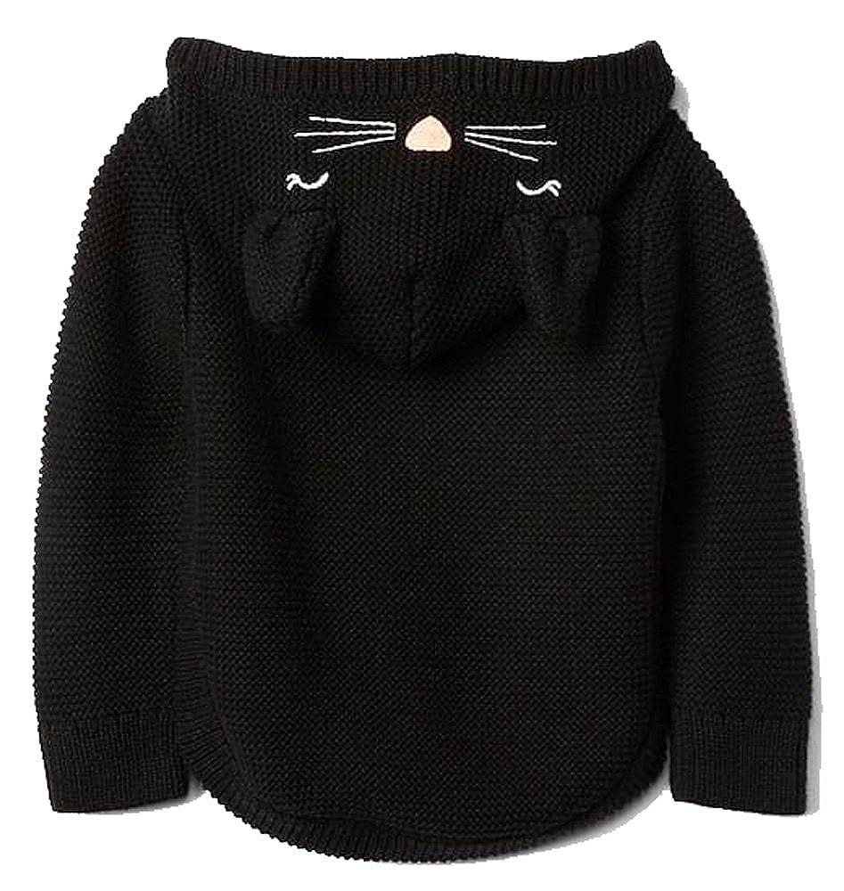 BabyGap Girls Black Kitten Garter Hoodie Sweater 3-6 Months