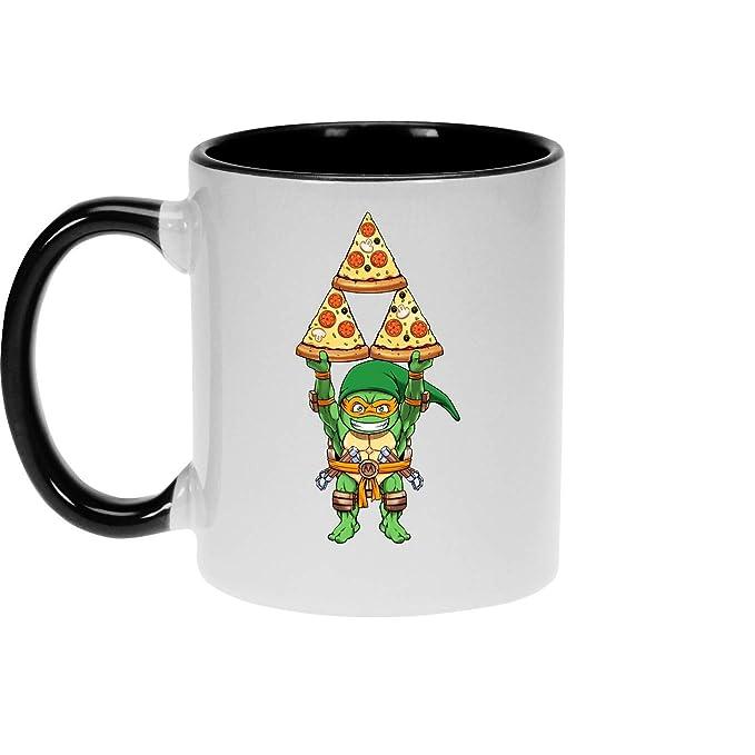 OKIWOKI Taza Negra Las Tortugas Ninja - Zelda humorística ...