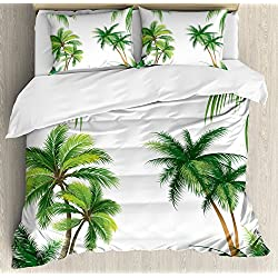 Ambesonne Tropical Duvet Cover Set King Size, Coconut Palm Tree Nature Paradise Plants Foliage Leaves Digital Illustration, Decorative 3 Piece Bedding Set with 2 Pillow Shams, Hunter Green