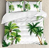 Ambesonne Tropical Duvet Cover Set by, Coconut Palm Tree Nature Paradise Plants Foliage Leaves Digital Illustration, 3 Piece Bedding Set with Pillow Shams, Queen/Full, Hunter Green
