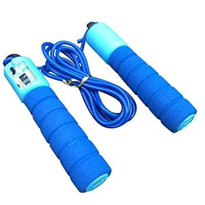 Simayixx Adjustable Soft Skipping Rope with Skin-Friendly Foam Handles for Kids and Adults Exercise Training Jump Rope (Blue, Free): Clothing