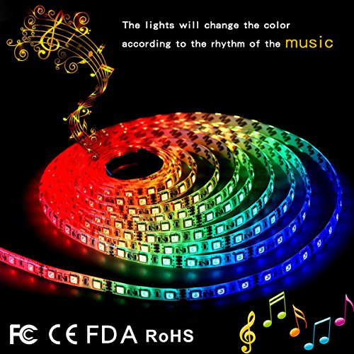 Lighting for HDTV.LED Strip Lights LED Lights Sync To Music 6.6Ft/2M LED Light Strip 60 LED Lights SMD 5050 Waterproof Flexible RGB Strip Lights Background Lighting IR Controller+USB Power