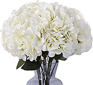Kimura's Cabin Fake White Flowers Artificial Silk Hydrangea Flowers Bouquets Faux Hydrangea Stems for Home Table Centerpieces Wedding Party Decoration (White)