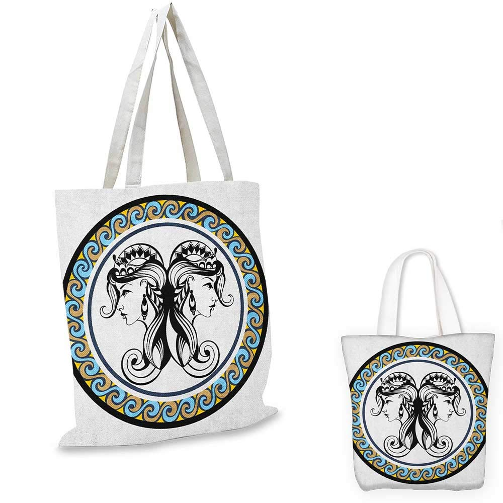 Zodiac Gemini canvas messenger bag Romantic Mystical Horoscopes Day and Night with Happy and Sad Faces canvas beach bag Black and White 12x15-10