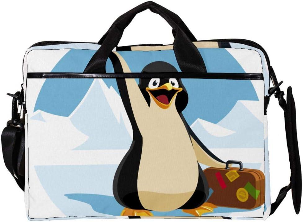 Haminaya Pingüino llevando una Maleta Bolsa para Laptop Portátil Maletín De Lona Bolsa para Computadora De 15-15.4 Pulgadas para Negocios/Trabajo/Escuela/Viajes 38x28cm