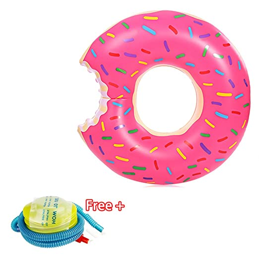 Amazon.com : Spring Summer New Float 70Cm Inflatable Adult Swim Ring Thickened Strawberry Donuts Chocolate Flotador Donut Lifebuoys, For Unisex Kids And ...
