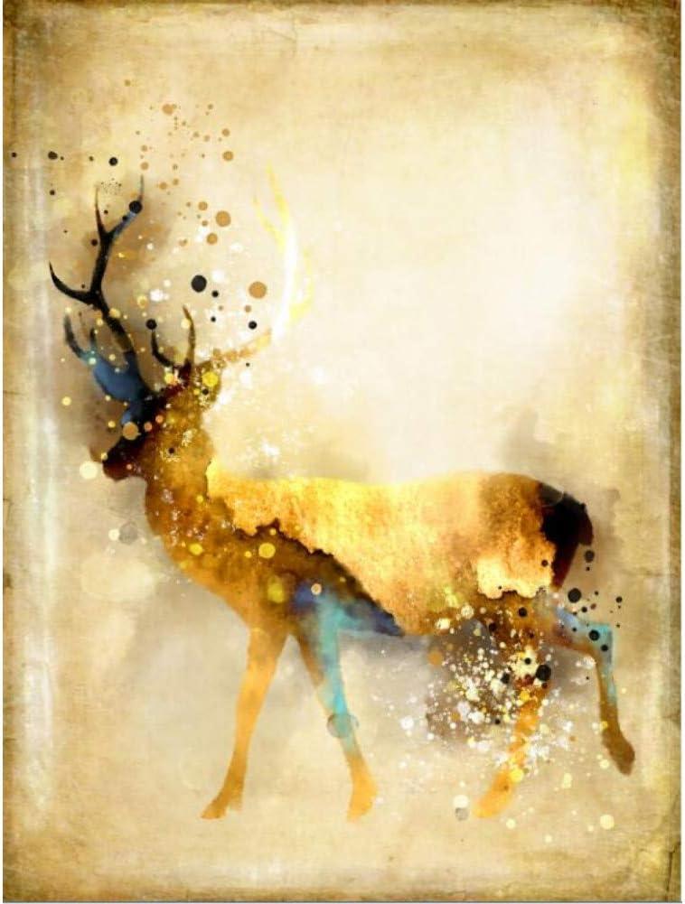 ZHANGFBH Leinwand Gem/älde Nordic Abstrakte Gold Hirsch Elch Leinwand Malerei Edlen Kunstdruck Gem/älde Poster Wandbild F/ür Wohnzimmer Wohnkultur Rahmenlose