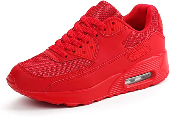 Mujer Zapatillas de Deporte con Amortiguación de Aire Zapatos con Cordones Transpirables para Caminar Correr Rojo EU 36: Amazon.es: Zapatos y complementos